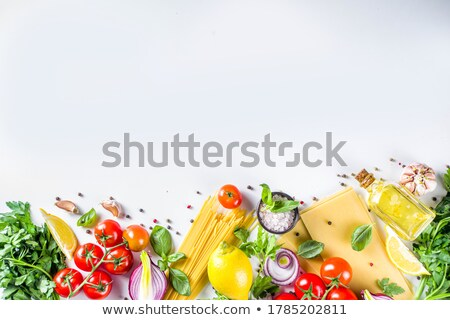 Foto stock: Various Pasta And Tomatoes With Garlic