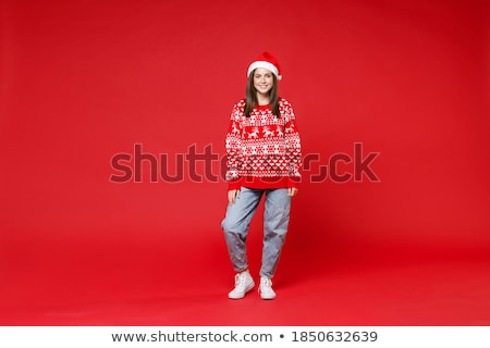 full length portrait of positive young woman 20s wearing red dre stock photo © deandrobot