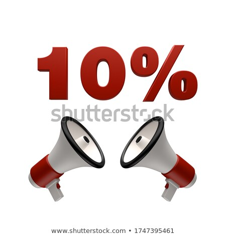 Stockfoto: 10 Percent Sign And Megaphone 3d