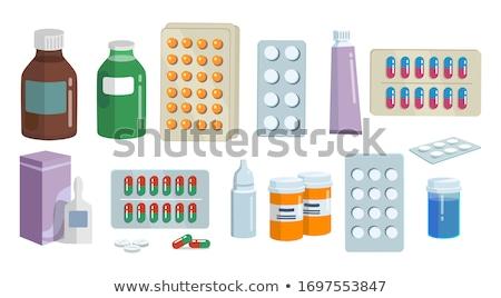 Pharmacie médication affiche titre gouttes bouteilles Photo stock © robuart