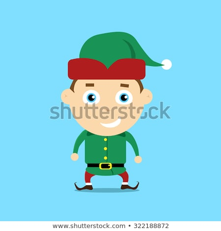 Cartoon glimlachend kerstmis elf man Stockfoto © cthoman
