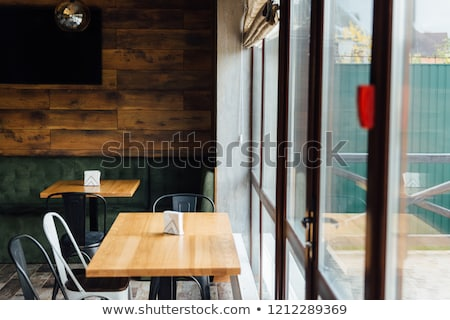 modern pizzeria interior with gray plaster on the walls Stock photo © ruslanshramko