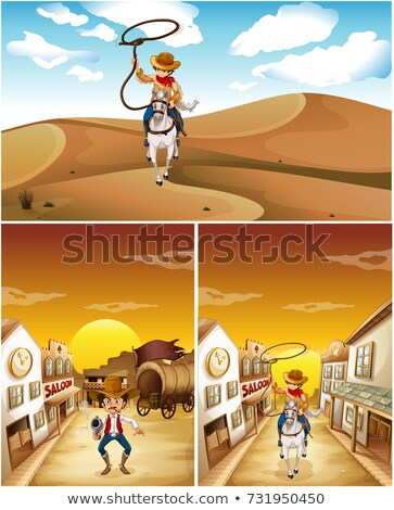 Três diferente cidade pôr do sol cavalo paisagem Foto stock © colematt