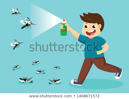 Kid Boy Spray Insecticide Stock photo © lenm