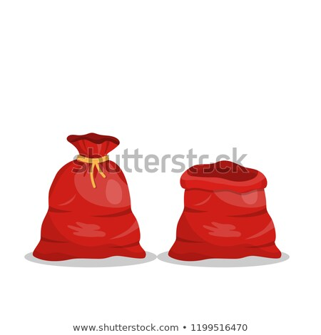 Santa Claus bag with presents and toys flat icon. Big red bag wi Stock photo © IvanDubovik