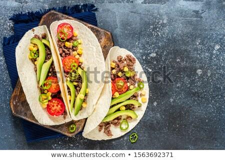 Tacos sığır eti gıda akşam yemeği et salata Stok fotoğraf © M-studio