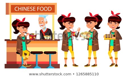 asian girl set vector classic restaurant takeaway food suchi rolls spaghetti for cover placar stock photo © pikepicture