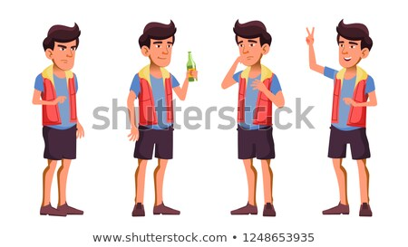 Asian Teen Boy Poses Set Vector. Beer. Hello. Funny, Friendship. For Advertisement, Greeting, Announ Stock photo © pikepicture