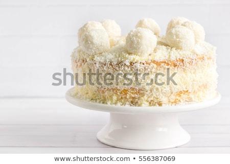 Finom kókusz torta mascarpone krém áll Stock fotó © YuliyaGontar