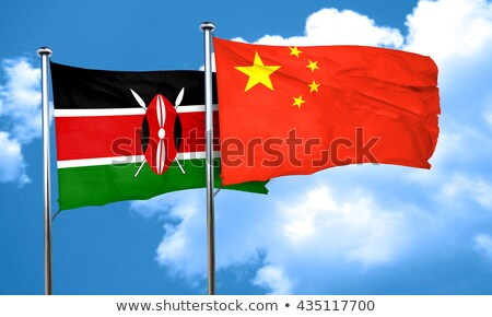Stock fotó: Kettő · integet · zászlók · Kína · Kenya · izolált