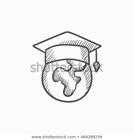 Globe in graduation cap hand drawn sketch icon. Stock photo © RAStudio