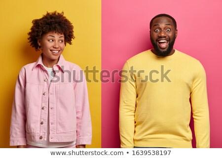 obraz · podniecony · para · kolorowy · ubrania - zdjęcia stock © deandrobot