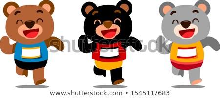 Mosolyog szürke medve rajzfilmfigura fut izolált Stock fotó © hittoon
