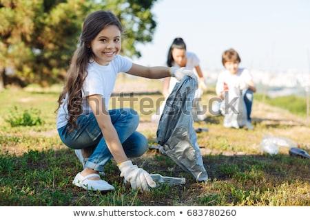 Foto stock: Voluntario · ninos · limpieza · parque · ilustración · cielo