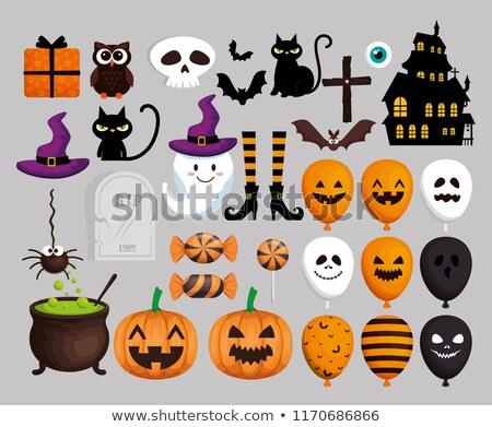Halloween fiesta globos negro vuelo vacaciones Foto stock © dolgachov
