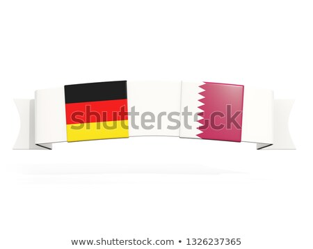 banner with two square flags of germany and qatar stock photo © mikhailmishchenko