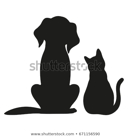 Photo stock: Noir · chien · chat · silhouettes · vecteur · canine