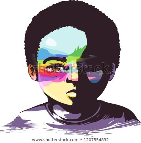 Kid Boy Black Hope in Misery Illustration Stock photo © lenm