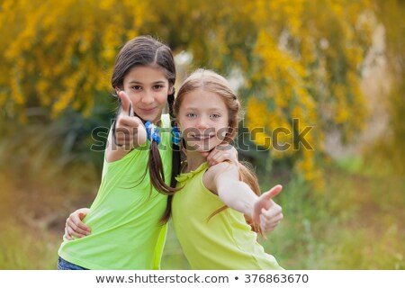 Two happy girls in summer camp Stock photo © Anna_Om