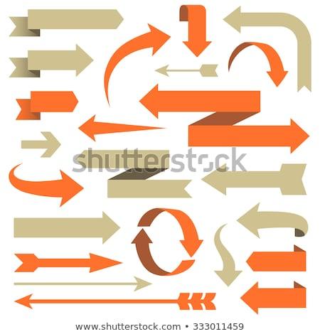 Сток-фото: Orange Triangle With Arrows Vector Illustration