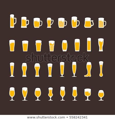 Piwa pół kwarty lodu zimno szkła Zdjęcia stock © albund