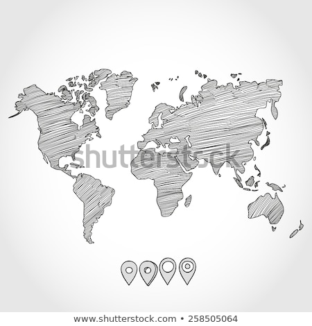 Hand drawn hatched world map Stock photo © biv
