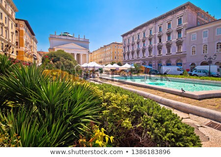 Stock photo: Trieste Piazza Sant Antonio Nuovo fountain and church colorful v