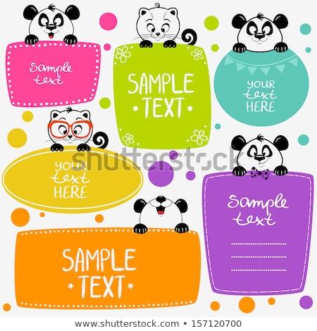 Ingesteld panda frame illustratie natuur blad Stockfoto © bluering
