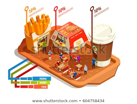 Fast food and drink, shopping isometric 3D illustration set. Stock photo © RAStudio