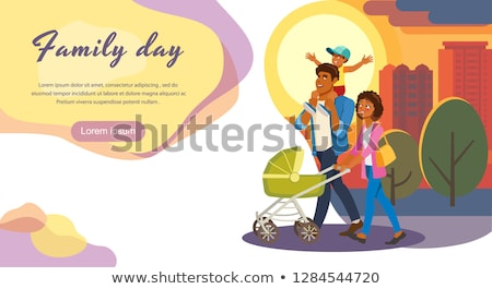 Family Day, Father and Mother with Perambulator Stock photo © robuart