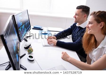 幸せ 株式市場 ブローカー デスクトップ 笑みを浮かべて ストックフォト © AndreyPopov