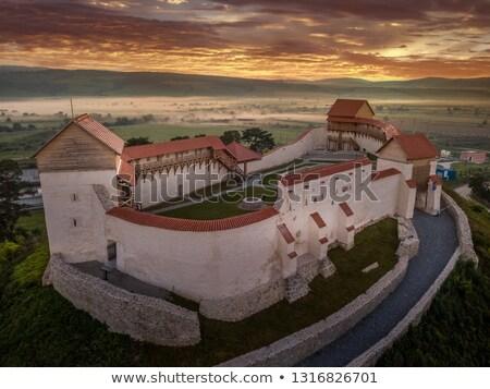 新しく 中世 城 ルーマニア 市 青 ストックフォト © grafvision