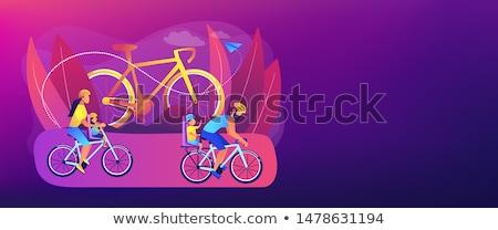 サイクリング バナー ヘッダ 両親 子供 ストックフォト © RAStudio