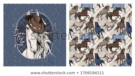 Ló csődör terv farm állatok oldalnézet profil Stock fotó © FoxysGraphic