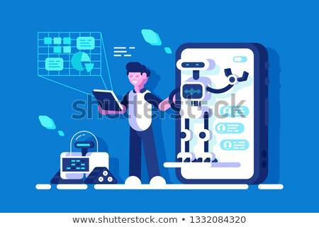 Fejlesztő készít bemutató chat illusztráció online Stock fotó © jossdiim