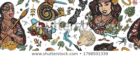 киви Новая Зеландия птица Cartoon ретро рисунок Сток-фото © patrimonio