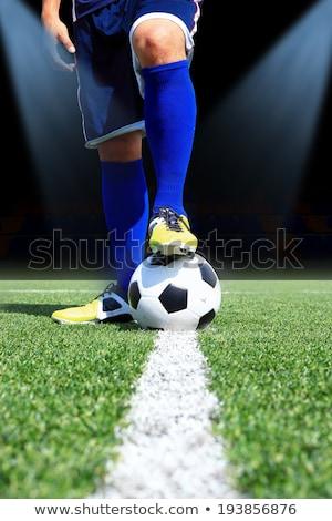 Detail soccer player kicking ball on field Stock photo © matimix