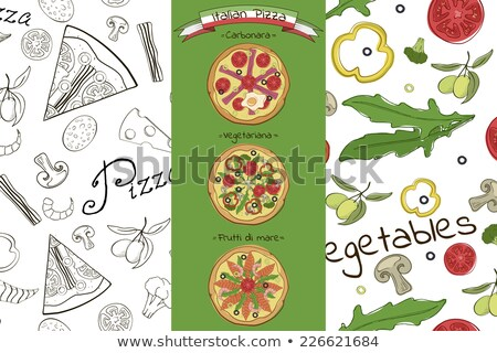 pattern with three different pizzas and ingredients of pizza Stock photo © Margolana