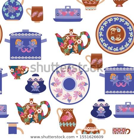 dibujado · a · mano · colección · hecho · a · mano · cerámica · vajilla · estantería - foto stock © margolana