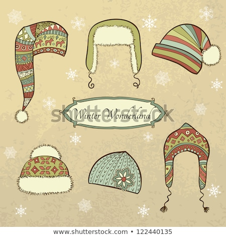 Winter Cap With Fur Seasonal Wear Retro Vector Stock photo © pikepicture