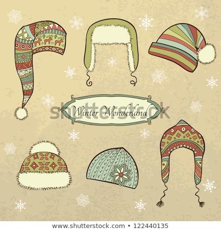 Winter Cap With Fur Seasonal Wear Retro Vector Stock photo © pikepicture