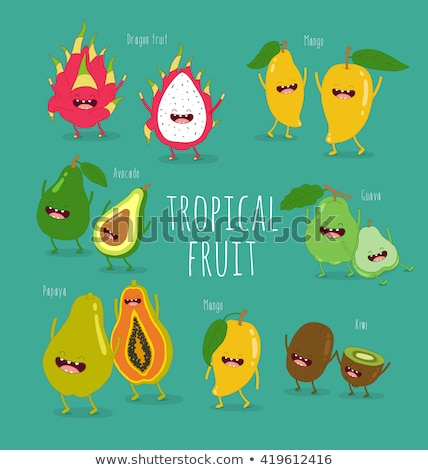 Kiwi Cartoon etiqueta agradable frutas nina Foto stock © barsrsind