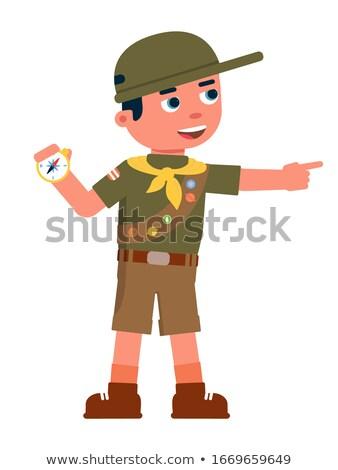 Chłopca safari uniform odizolowany ilustracja podróży Zdjęcia stock © bluering