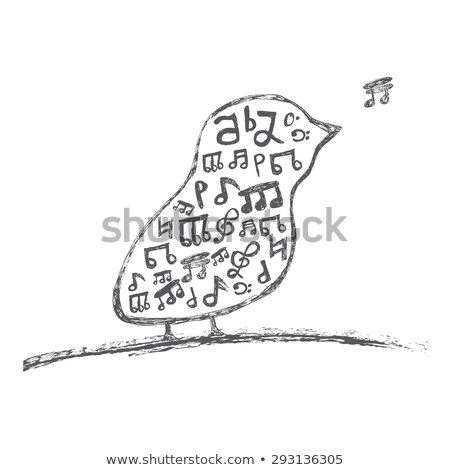 Bird with musical notes inside. Isolated on white background Stock photo © ShustrikS