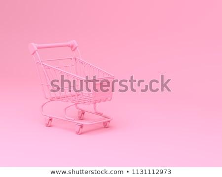 Bevásárlókocsi rózsaszín fotó üzlet pénz bolt Stock fotó © AndreyPopov
