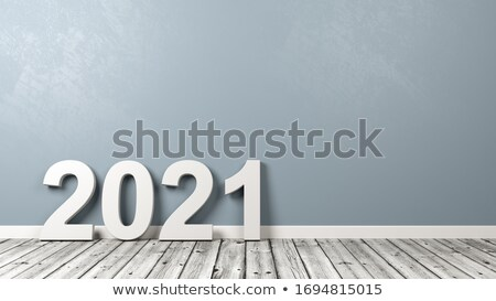2021 Number Text on Wooden Floor Against Wall Stock photo © make