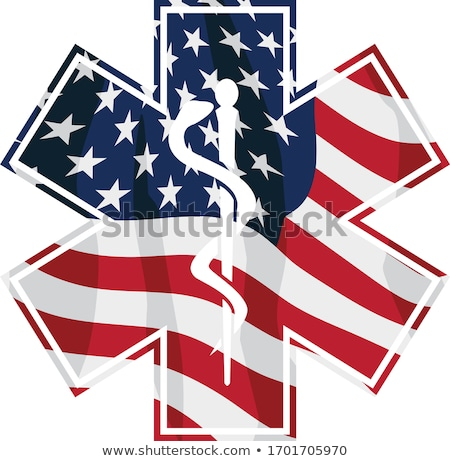 Patriotic Paramedic EMT Medical Service Symbol with USA Flag Overlay Isolated Vector Illustration Stock photo © jeff_hobrath
