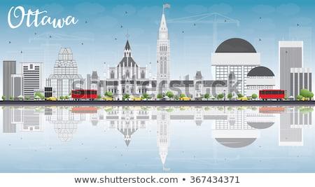 Otawa linha do horizonte cinza edifícios blue sky reflexões Foto stock © ShustrikS