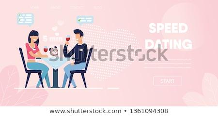 Vak randevú leszállás oldal férfi nő Stock fotó © RAStudio