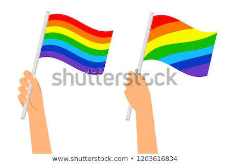 Rainbow flag and hand on white background. Vector illustration Stock photo © butenkow